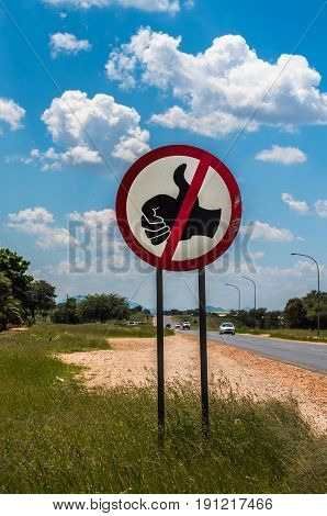 No hitchhiking road sign in Namibia Africa