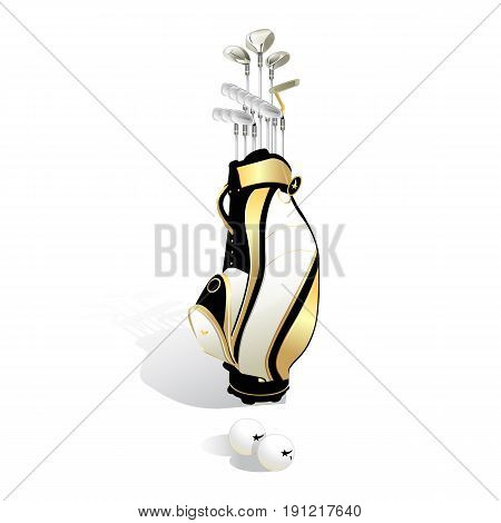 realistic Golf bag and clubs isolated on white background. Vector illustration.