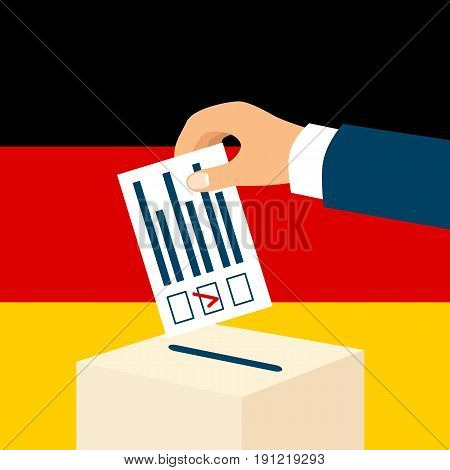 Election in Germany concept. Male hand putting voting paper and a ballot box with german flag on a background, flat design, vector illustration