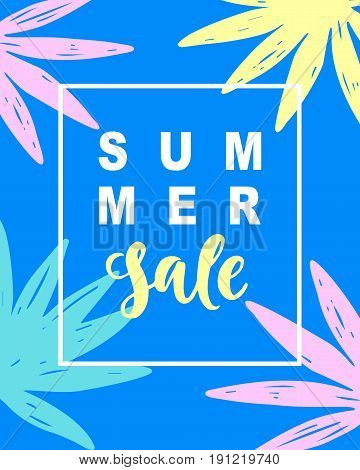Summer Sale Modern Banner Template Background with tropical leaves in bright trendy colors. Vector Illustration for social media marketing, Website, mobile, E-commerce poster design