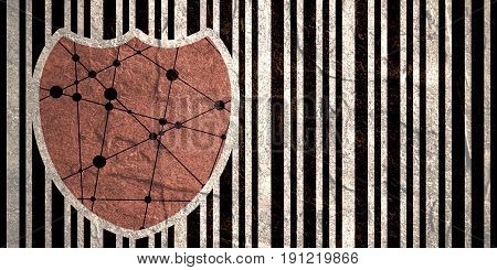 Buyer protection. Internet payments security. Bar code and shield. Concrete grunge texture