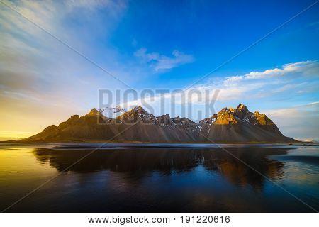 Vestrahorn mountain at sunset light Stokksnes Iceland