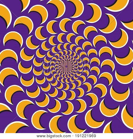 Optical motion illusion vector background. Yellow crescent flock together circularly to the center on purple background.