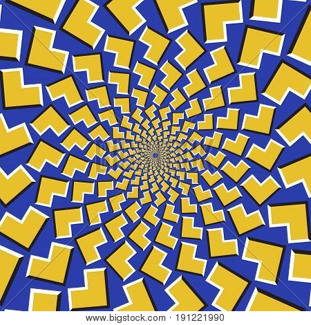 Optical motion illusion background. Yellow arrows fly apart circularly from the center on blue background.