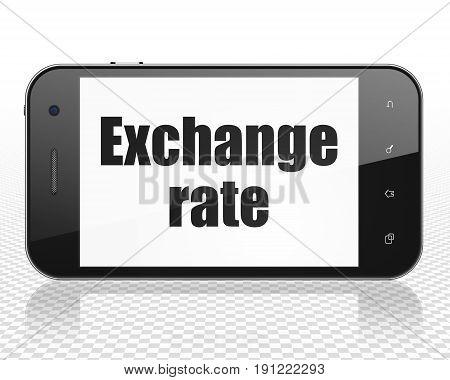 Money concept: Smartphone with black text Exchange Rate on display, 3D rendering