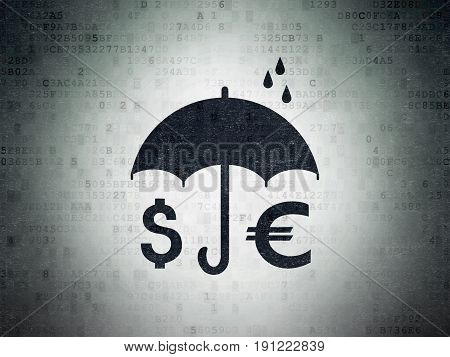 Safety concept: Painted black Money And Umbrella icon on Digital Data Paper background