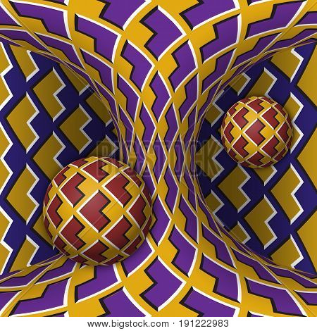 Optical motion illusion illustration. Two spheres are rotation around of a moving hyperboloid. Abstract fantasy in a surreal style.