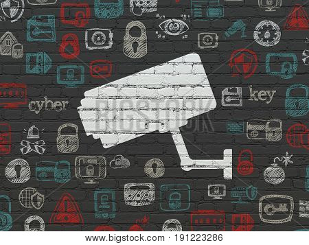 Protection concept: Painted white Cctv Camera icon on Black Brick wall background with  Hand Drawn Security Icons