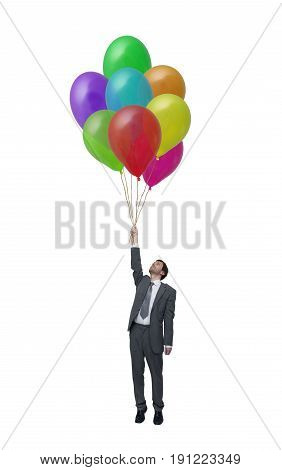 Picture businessman with many balloons in hand