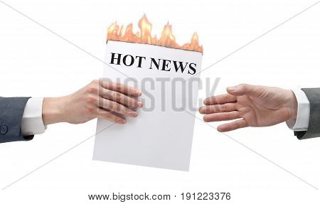 Two businessmen transmit to hot news