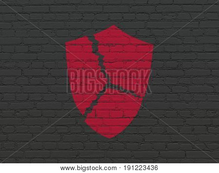 Safety concept: Painted red Broken Shield icon on Black Brick wall background