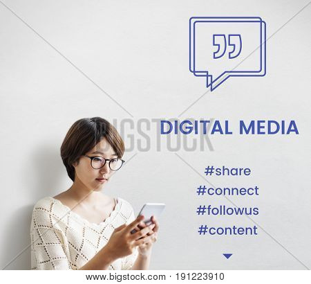 Digital Media Speech Bubble with Quotation Mark