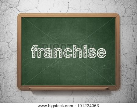 Business concept: text Franchise on Green chalkboard on grunge wall background, 3D rendering
