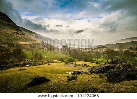 A Beautiful Irish Mountain Landscape In Spring. Gleninchaquin Park In Ireland.