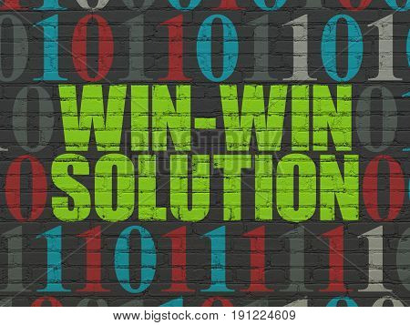 Business concept: Painted green text Win-win Solution on Black Brick wall background with Binary Code
