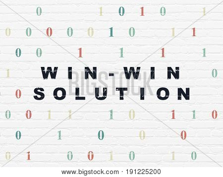 Business concept: Painted black text Win-win Solution on White Brick wall background with Binary Code