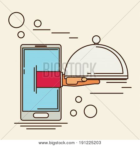 Food creative concept restaurant cloche in hand app service enjoy your meal. Mobile service delivery service