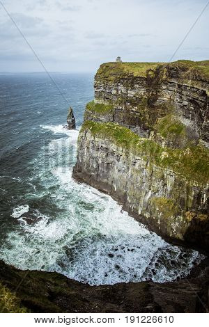 A Beautiful Landscape Of Moher Cliffs In Spring In Ireland.