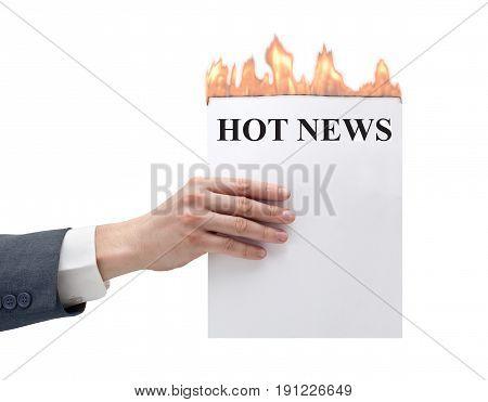 businessmen transmit to hot news in hand