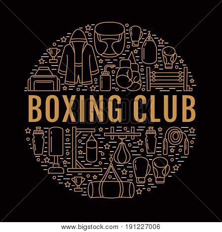 Boxing poster template. Vector sport training line icons, circle illustration of equipment - punchbag, boxer gloves, ring, heavy bags. Box club banner with place for text, dark background.