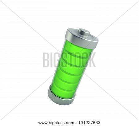Battery Charging Battery Charge Level Indicators On White 3D Illustration No Shadow