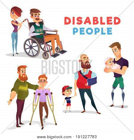 Set of cartoon illustrations of people with disabilities among others. Men with limited opportunities in a wheelchair, on crutches, with prosthetic legs, with a broken arm