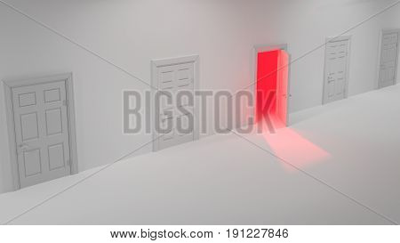 Corridor with several closed white doors and one open room with red shining light 3D illustration