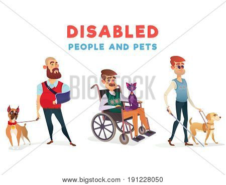 Set of cartoon illustrations of people with disabilities with pets. Men with limited opportunities with special dog-guide, therapy dog and cat