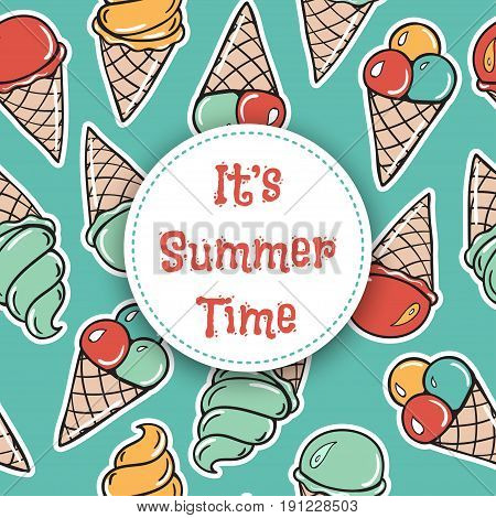 Il is summer time Seamless pattern with sweet icecreams. Vector background in comic style.