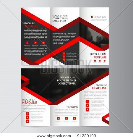 Red lael business trifold Leaflet Brochure Flyer report template vector minimal flat design set abstract three fold presentation layout templates a4 size