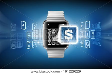 illustration in a realistic style the concept of e-payments using the application on your wrist watch. Illustration of the wrist watch and bank cards on an abstract background.