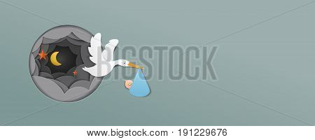 stork With Baby Boy paper art cute vector paper cut illustration