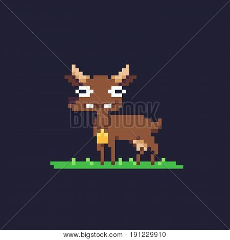Funky pixel art cow or goat character, isolated on dark background