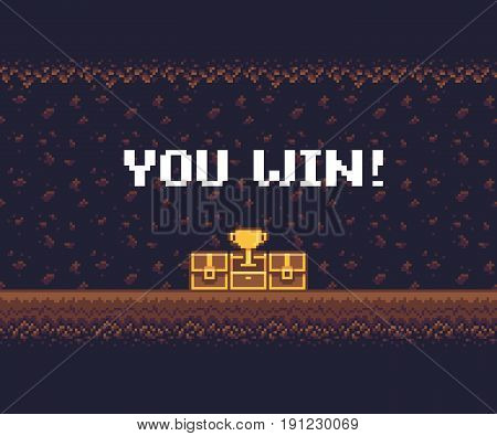 Pixel art game background, underground cave with treasure chests and golden goblet