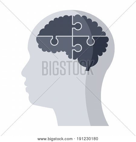 Psychiatry or psychology medical icon, vector illustration in flat style