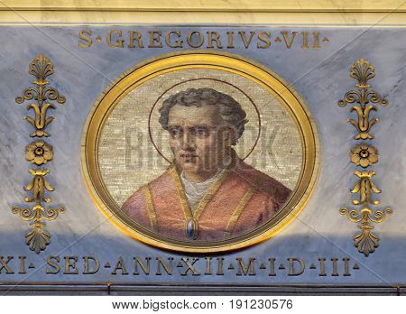 ROME - SEPTEMBER 05: Gregory VII Latin: Gregorius VII, born Hildebrand of Sovana was Pope from 22 April 1073 to his death in 1085, basilica of Saint Paul Outside the Walls, Rom on September 05, 2016.