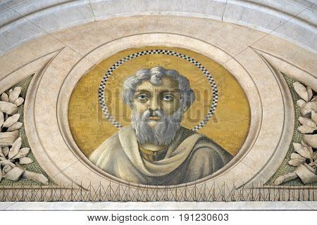 ROME, ITALY - SEPTEMBER 05: Apostle Saint James the Less, mosaic in the basilica of Saint Paul Outside the Walls, Rome, Italy on September 05, 2016.