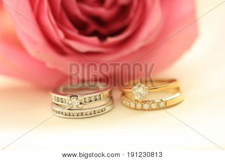 Two diamond wedding sets for a double bride wedding