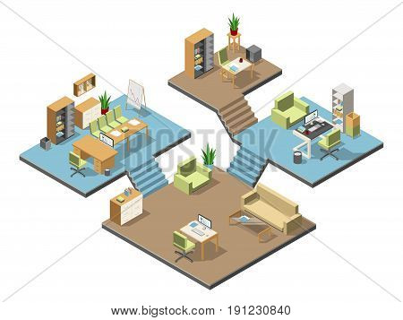 Different isometric modern offices with furniture. Several floors in business center. Vector illustration set. Room reception and presentation room office