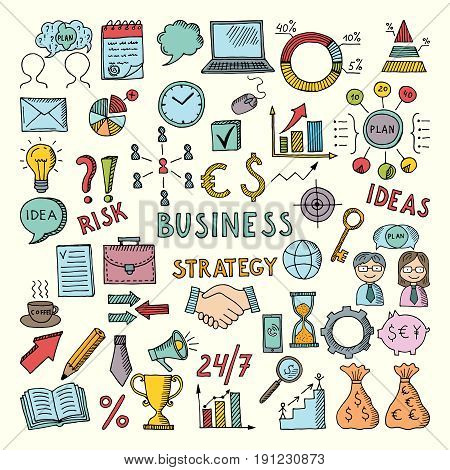 Coloring business illustrations in hand drawn style. Vector doodles set. Plan business structure, success team work