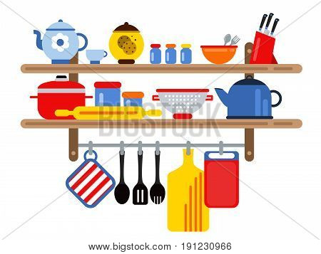 Cooking and restaurant equipment on kitchen shelves. Vector illustration in flat style. Kitchen equipment on shelf, bowl and kettle