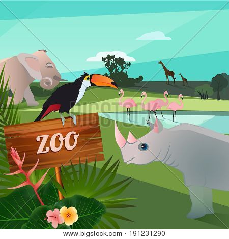 Cartoon illustration of wild animals in zoo. Funny vector characters. Funny zoo animal elephant and flamingo in pond