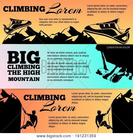 Climbing banners collection with black silhouettes. Vector adventure banner, illustration of climbing mountain poster