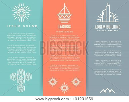 Vintage minimal geometric brochure flyers templte with linear logos. Business vintage minimal layout banner. Vector illustration