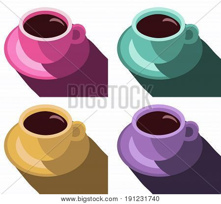 Coffee cups colorful poster. Set Coffee Mug Vector Illustration Pop Art Style Vector