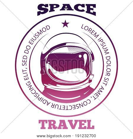 Colorful space travel label design with astronaut in spacesuit isolated on white background. Vector illustration