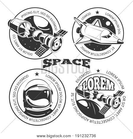 Space labels set - labels or logo with shuttle, international space station and astronaut. Vector illustration