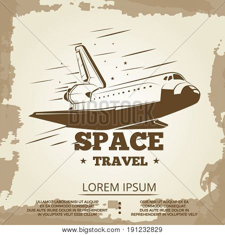 Space travel grunge vintage banner design. Space grunge banner, vector illustration