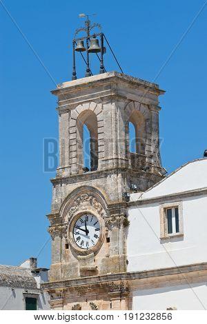 Detail of Clocktower of Martina Franca. Puglia. Italy.