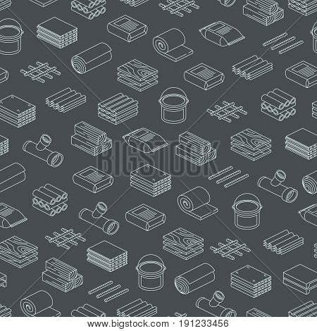 Building and contruction materials seamless pattern design - repairs seamless texture. Background with linear material. Vector illustration